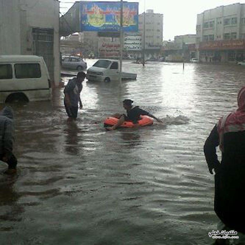 شوارع تبوك بمياه الامطار 1434