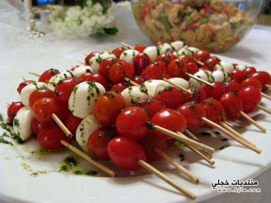 اسياخ الموزريلا بالطماطم طريقه اسياخ