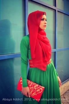 حجاب باللون الاخضر 2014 الوان