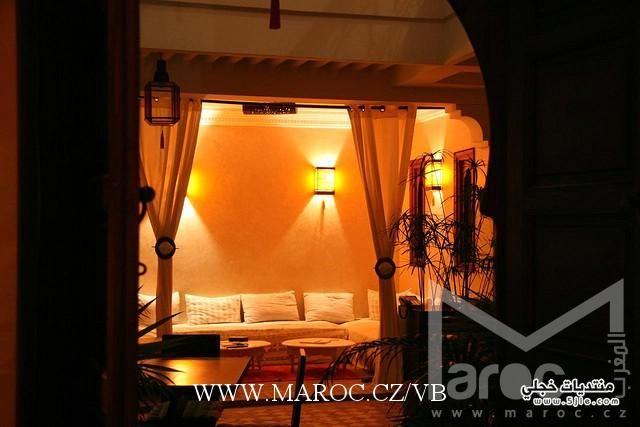 اجمل ديكورات حوائط اضاءات مغربية