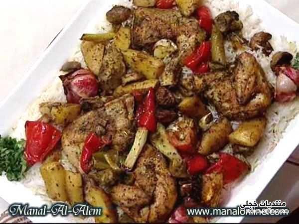 خطوات صينيه الدجاج بالخضروات طريقه