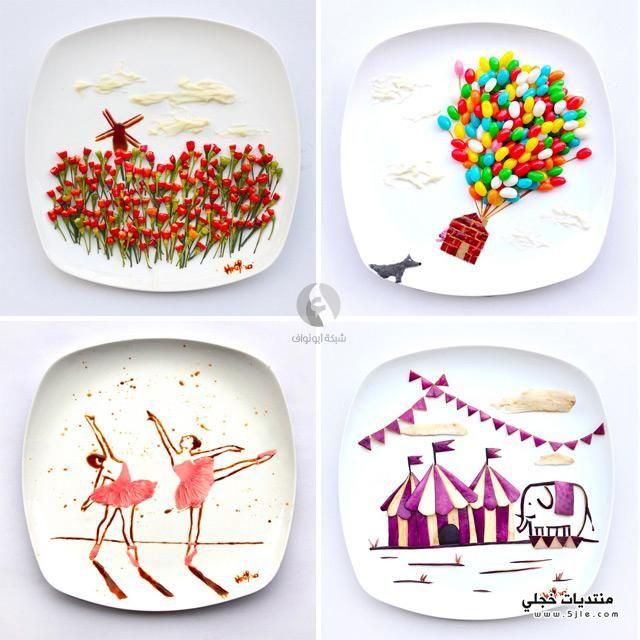 فنانة تقديم لوحات غذائها لوحات