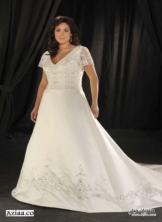 فساتين زفاف للسمينات 2014 جديد
