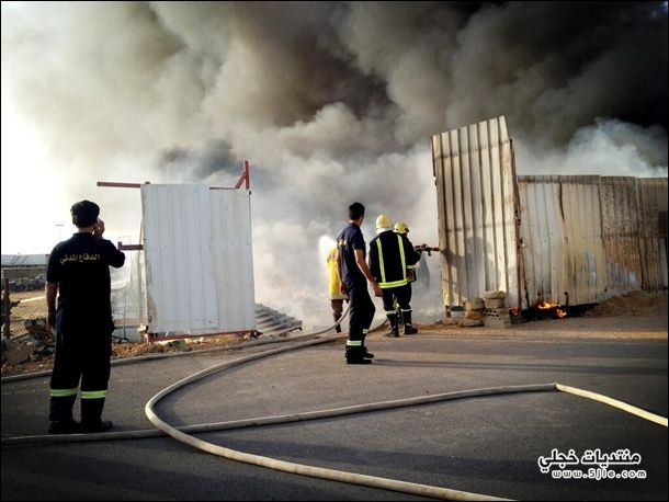 حريق تشليح السيارات بالخرج حريق