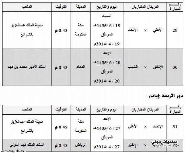 جدول الاربعة خادم الحرمين 2014