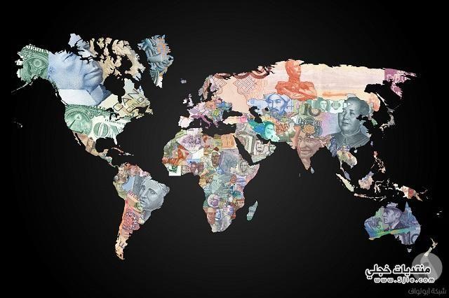 خريطة العالم بالنقود خريطة العالم