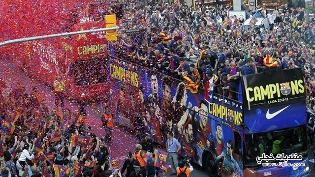 احتفالات برشلونة بالفوز الدوري الاسباني