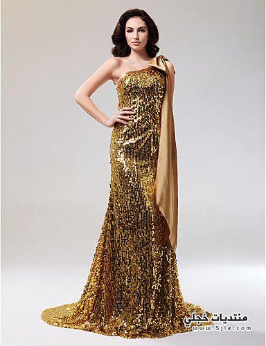 فساتين سهرة طويلة باللون الذهبي