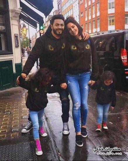 تامر حسني وزوجته وبناته