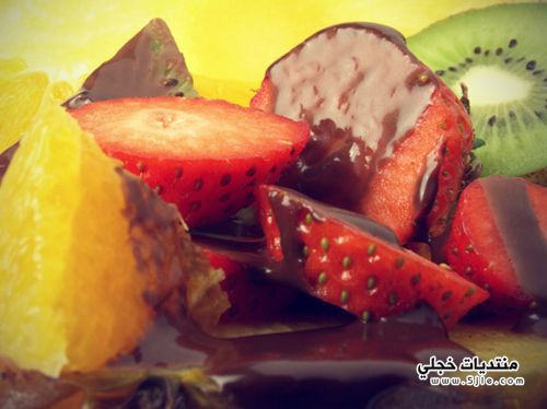 طريقة تحضير فواكه بصلصة الشوكولاتة