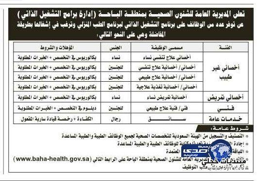 وظائف شاغرة بالشؤون الصحية بمنطقة