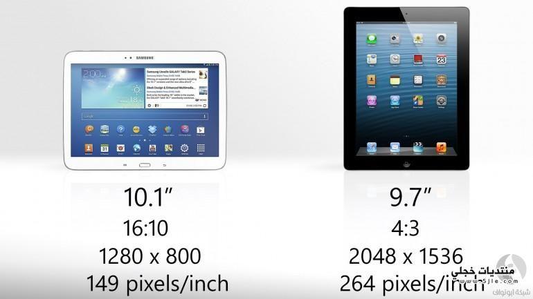 مقارنة Samsung Galaxy 10.1 iPad