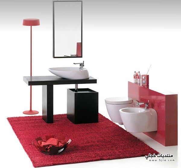 أجمل ديكورات الحمامات باللون الأحمر