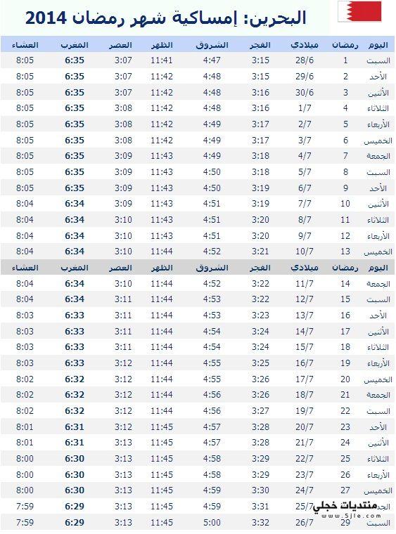 امساكية رمضان البحرين 2014 مواقيت