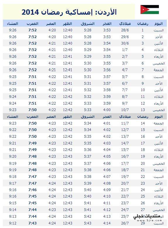 مواقيت الصلاة رمضان الاردن 2014