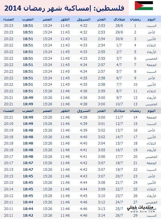 امساكية رمضان فلسطين 2014 مواقيت