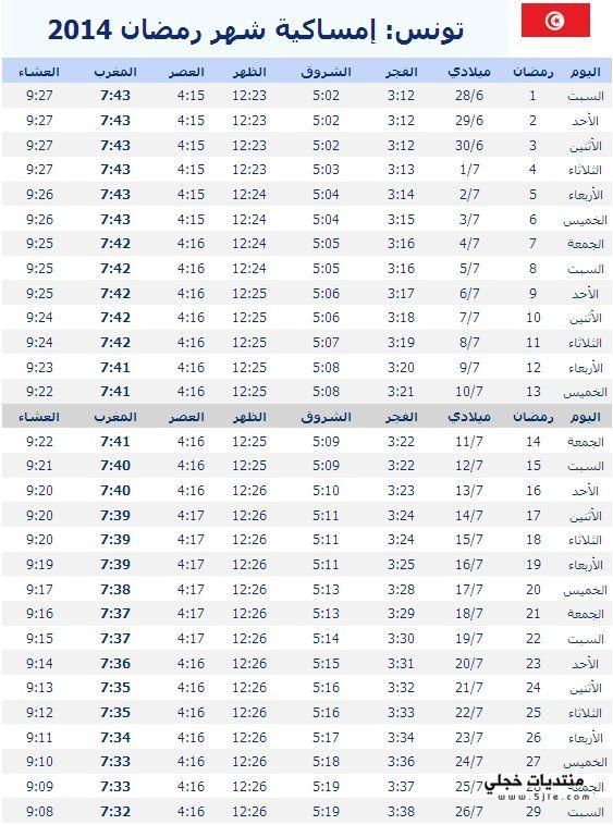 امساكية رمضان تونس 2014 مواقيت