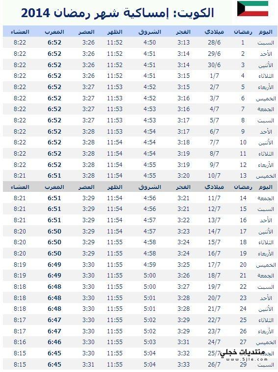 امساكية رمضان الكويت 2014 مواقيت