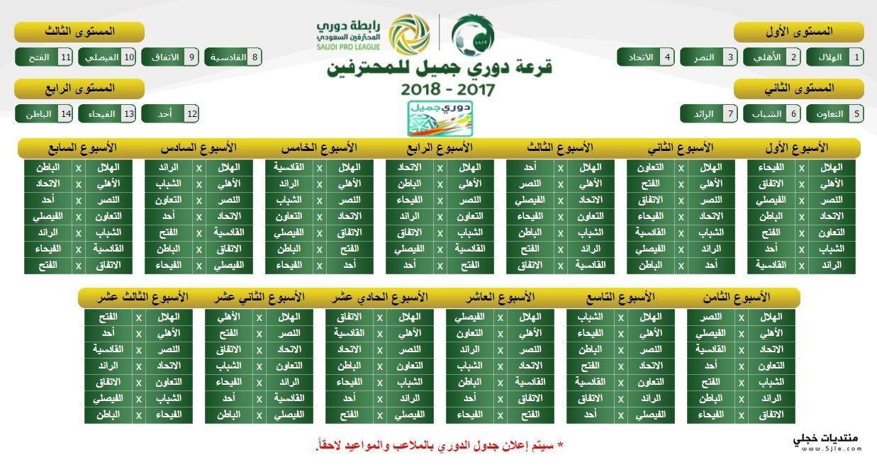 جدول دوري جميل 2018