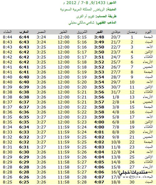 مواعيد اذان المغرب الرياض 2013
