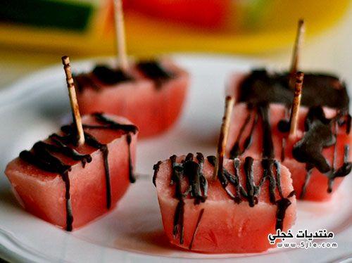 طريقة تحضير شرائح البطيخ المغطسة