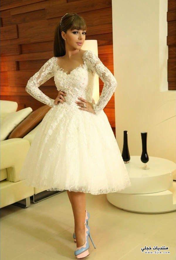 ميريام فارس بفستان زفاف قصير