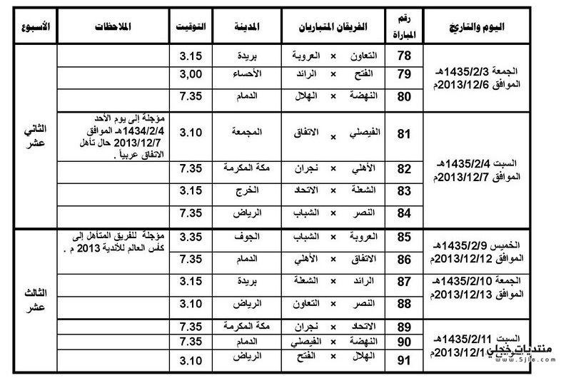 جدول مباريات الهلال 2014