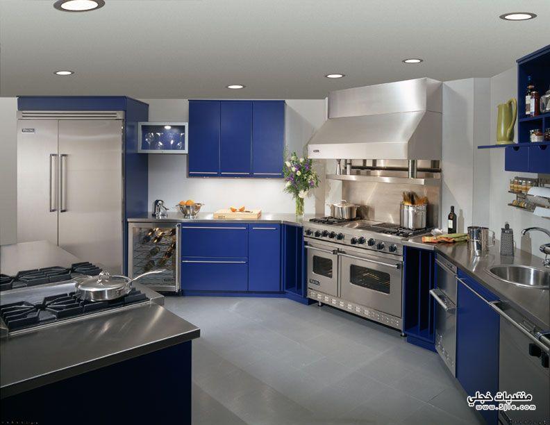 مطبخ باللون الازرق مطابخ ملونة