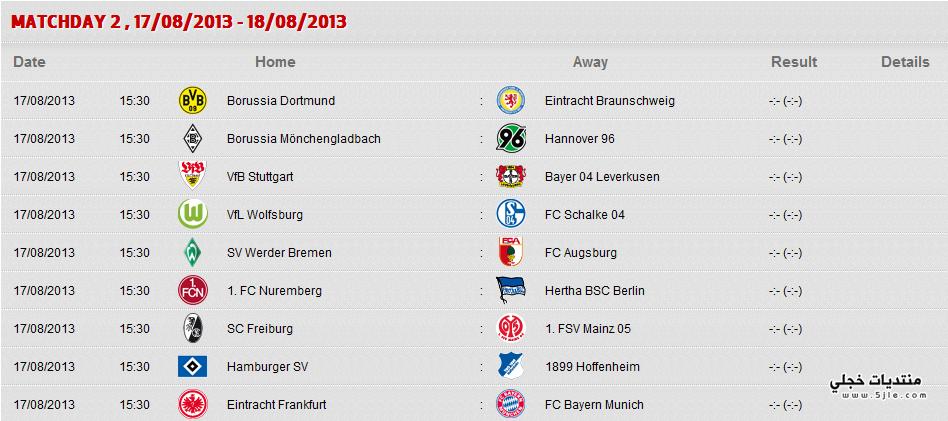 جدول الدوري الالماني 2014 جدول