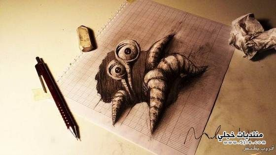رسومات ثلاثيه الابعاد بقلم رصاص