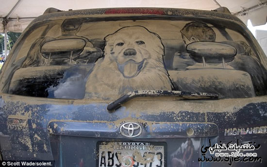رسومات نوافذ السيارات المغبرة